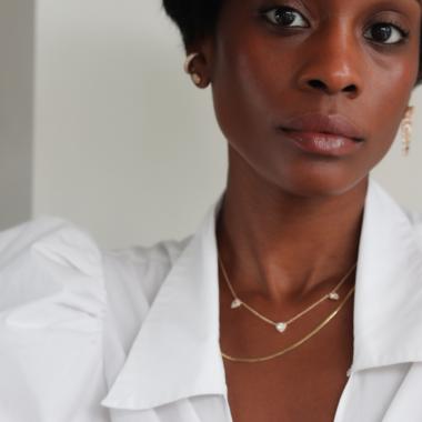 close up of woman Alyssa Francois wearing Merit makeup